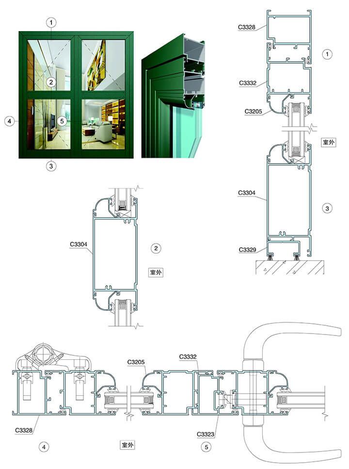 kết cấu cửa hợp kim nhôm, cấu tạo cửa nhôm kính smart door