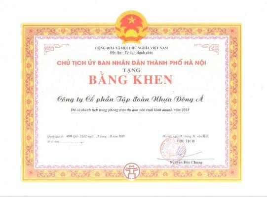 DAG nhận bằng khen của Chủ tịch UBND Thành phố Hà Nội trao tặng