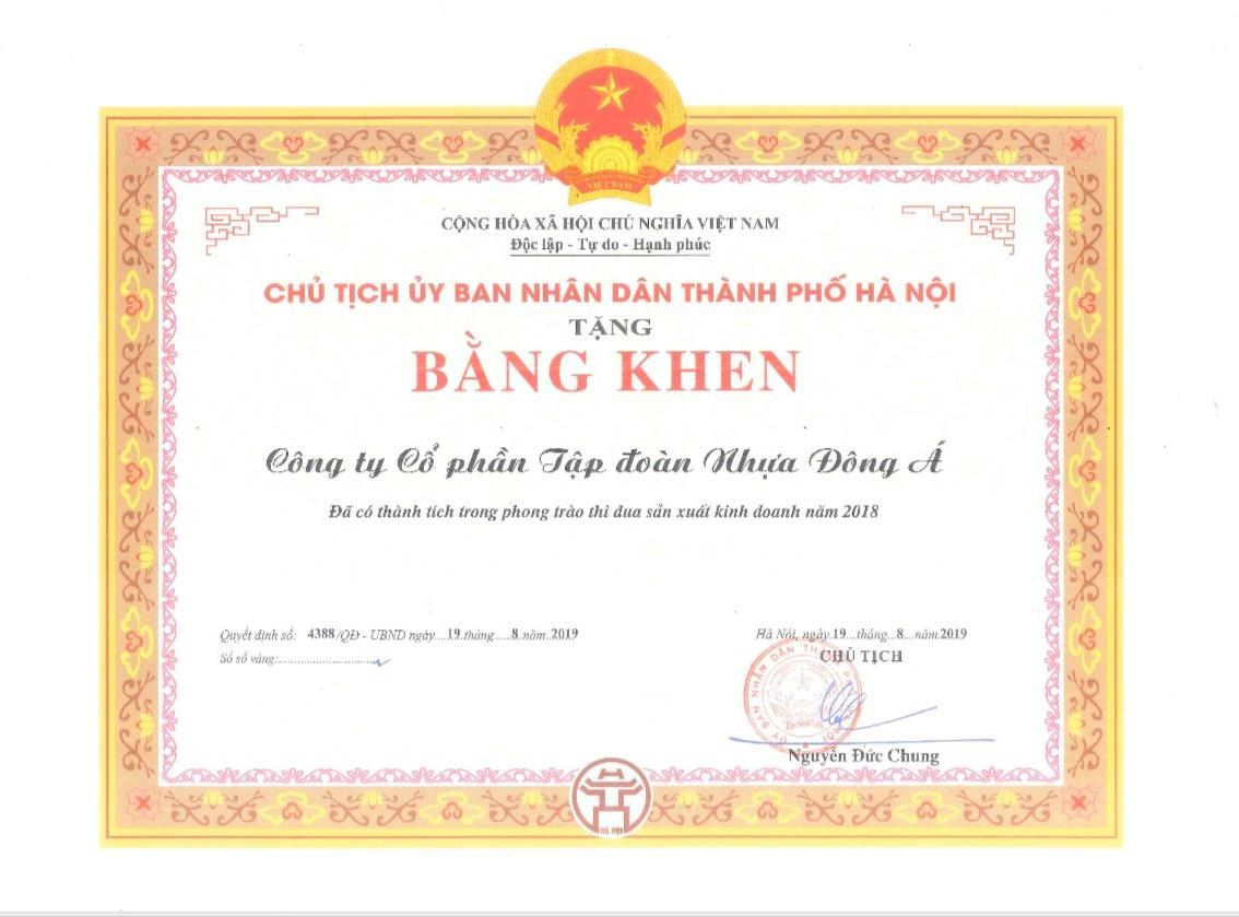 DAG vinh dự nhận Bằng khen của UBND TP Hà Nội 2019