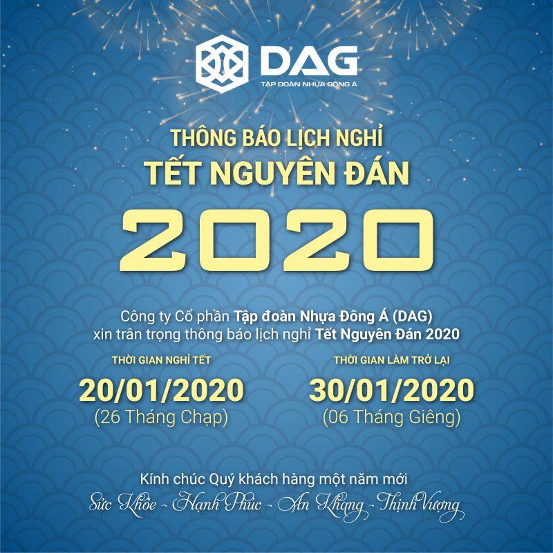 DAG thông báo Lịch Nghỉ Tết Nguyên Đán 2020