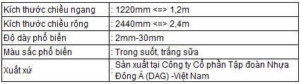 Quy cách Tấm Mica Acrylic DAG