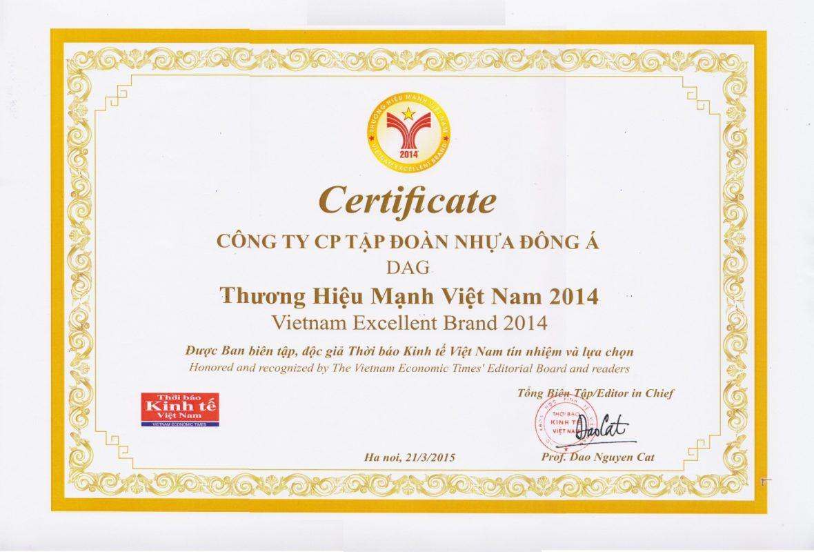 DAG nhận giải thưởng Thương hiệu mạnh 2014