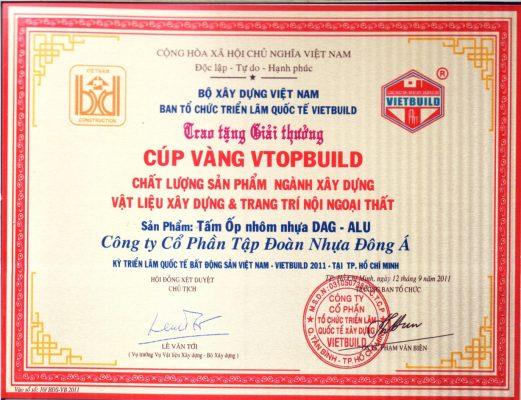DAG đạt Huy Chương Vàng Chất Lượng sản phẩm tại Hội chợ Vietbuild