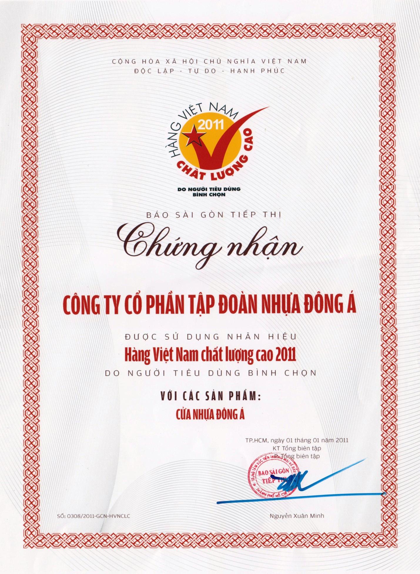 DAG đạt danh hiệu Hàng Việt Nam Chất Lượng Cao 2011