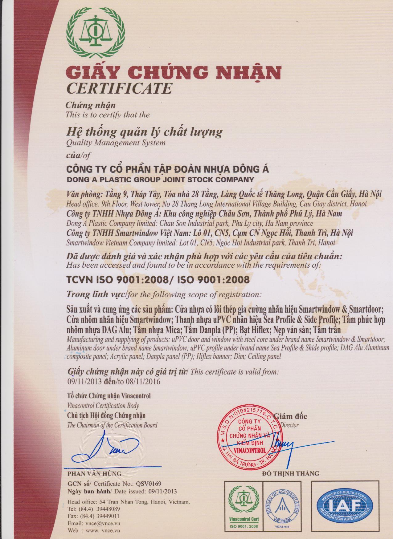DAG nhận chứng chỉ ISO 9001:2008