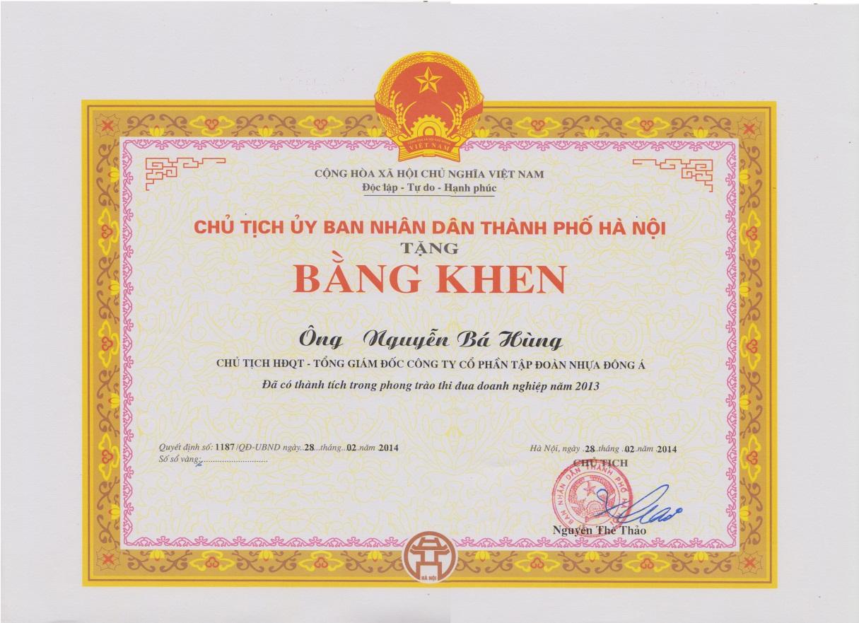 nhận cờ thi đua xuất sắc và Bằng khen của UBND TP Hà Nộ