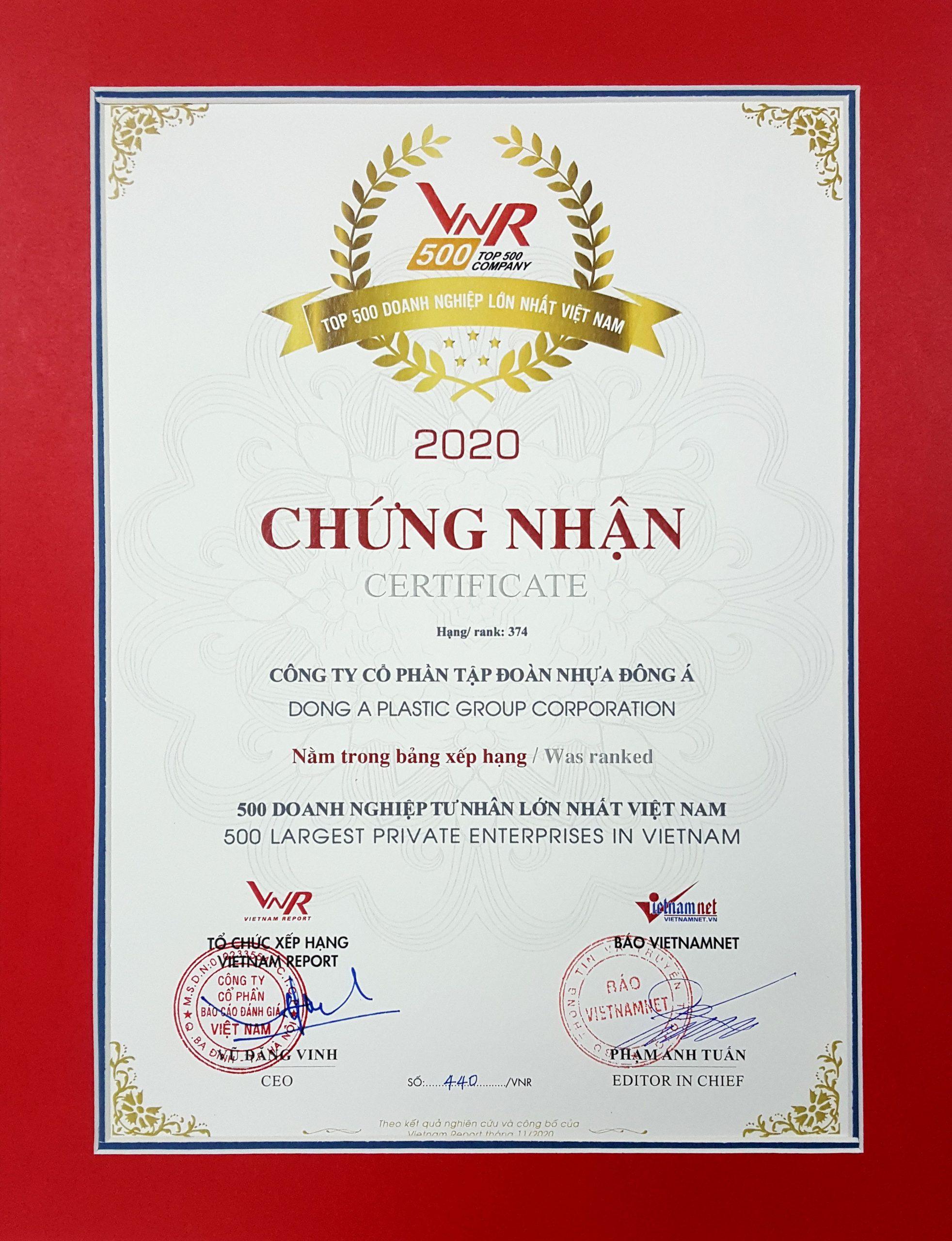 Nhựa Đông Á đạt top 500 doanh nghiệp tư nhân lớn nhất Việt Nam